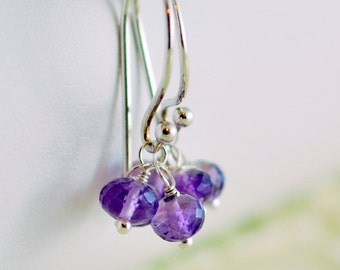 Purple Earrings Amethyst Gemstone Drops AAA Semiprecious February Birthstone Wire Wrapped Sterling Silver Jewelry Complimentary Shipping