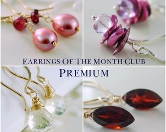 Premium Earrings of the Month Club Six Month Subscription Sterling Silver Gold Gemstone Pearl Jewelry Complimentary Shipping