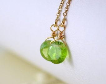 Peridot Earrings, Genuine Lime Green Gemstone, Threader Earrings, August birthstone, Sterling Silver or Gold Jewelry, Free Shipping
