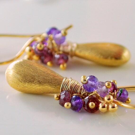 Gold Earrings, Gemstone, Semiprecious Rhodolite Garnet Amethyst, Brushed Vermeil Teardrops, Elegant Jewelry, Free Shipping