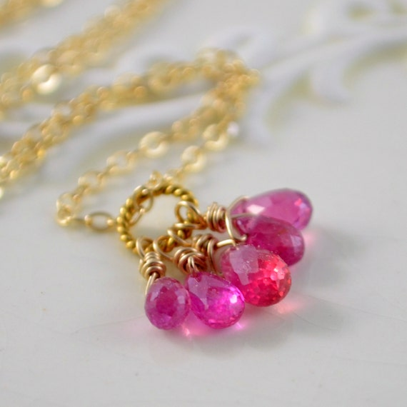 Genuine Ruby Necklace, Precious Gemstone, Hot Pink Fuchsia Cluster, July Birthstone, Wire Wrapped Gold Jewelry, Free Shipping