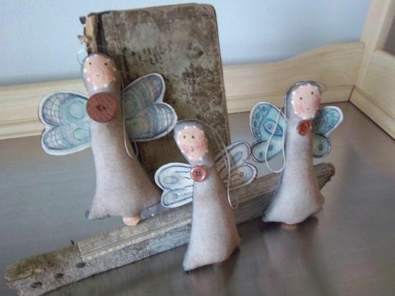 Primitive angel bowl fillers handmade folk art ornaments home decor set of 3 OOAK