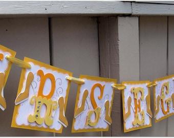 Handmade Banner - Custom made - GO GREEN - Name Banner Happy Birthday Baby Shower Bridal Shower Hearts