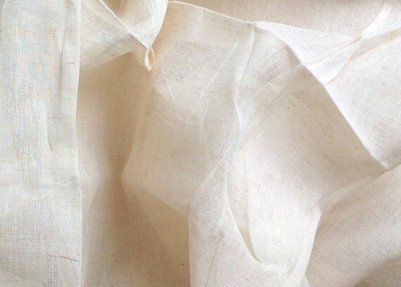 "Unbleached Linen Cotton Fabric.  Bed Drapes, Vintage Clothes & Accessories. Screen / Block Print,  Dye  Batiks. 1 Yard (54"" W) F808"