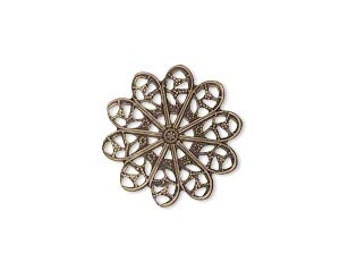 Filigree Flower Embellishment - 18mm - 20 for You - Antique Brass Finish- For Jewelry, Metal Riveting, Scrapbooking....