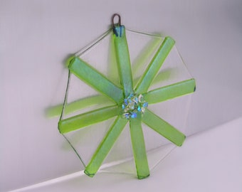 CHRISTMAS SALE!  Fused Glass Snowflake Ornament - Lime Green with Dichroic Glass Accents - Iridized Glass - Christmas Ornament