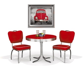 Ruby Red Volkwagen Beetle (or CHOOSE your color) - Photo Print - 1960s 1970s Vintage Style Hippie Car Retro Home Decor