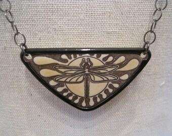 Ceramic Triangular Dragonfly Necklace