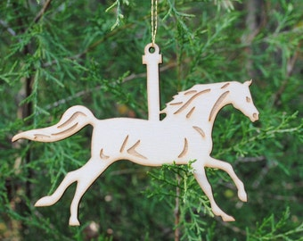 Natural Wood Carousel Horse Ornament