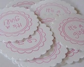 It's a Girl Scallop Circle 2 inches - Set of 15