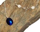 Australian Doublet Opal Necklace Sterling Silver Moonstone earthegy Birthstone October