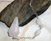 Pink Rose Quartz Gemstone Crystal Pendulum Divination Tool Sterling Silver Reiki Wicca