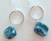 Teal glass dangle earrings fall fashion jewelry art deco inspired