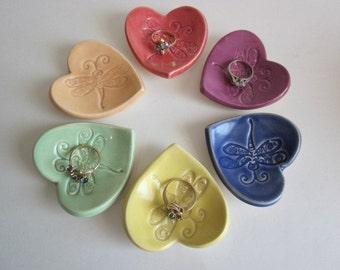 Dragonfly design ceramic heart bridal shower favors