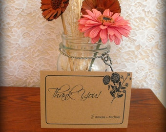 Thank You Cards - Wildflowers Silhouette on Brown Kraft Cardstock - Set of 10 with Envelopes
