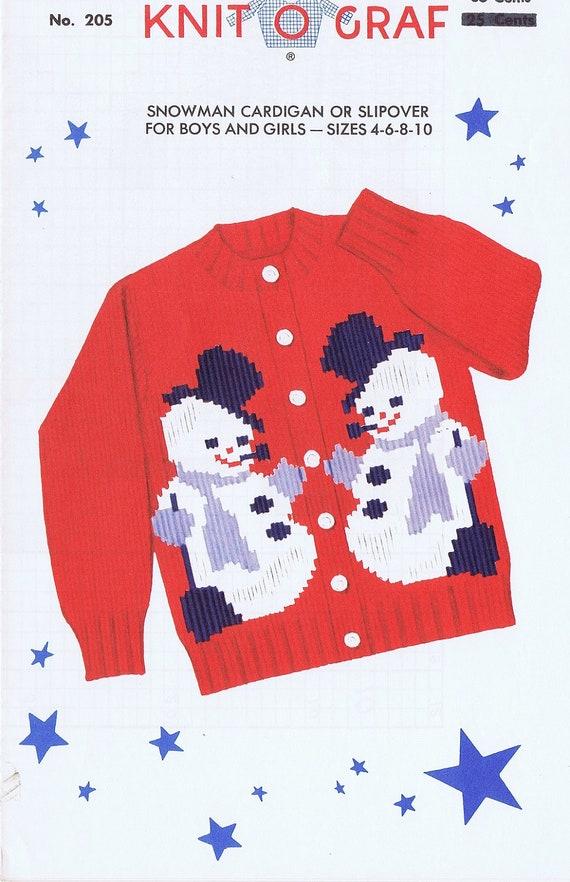 Knit-O-Graf Childrens Snowman Cardigan by VintagePatternPlace