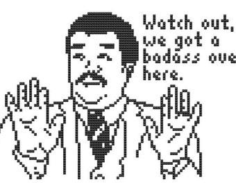 Watch out we got a Badass over here. cross stitch pattern meme