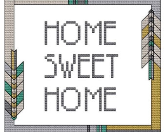 Custom cross stitch pattern: Modern  border, your message.
