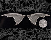Huge Silver Plated Brass Bat Wings - One Set of Wings S:P55