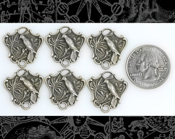 Silver Plated Brass Embossed Bird Shield Connectors  Set of Six* S-2C33