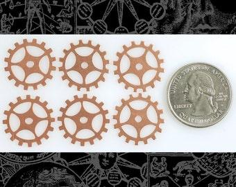 Copper Steampunk Open Spoke Faux Gears Wheels 20mm Set of 6  *C-G04