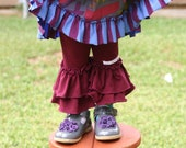 dark red wine maroon knit leggings with double ruffles sizes 12m - 14 girls