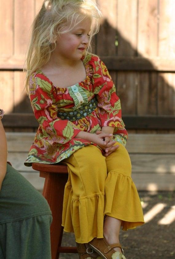 mustard yellow knit ruffle pants big ruffles sizes 12m - 14 girls