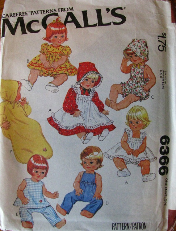 BRAND NEW - Vintage Doll Pattern McCall's 6366 Clothes Wardrobe Dress Pinafore Panties Sunsuit Bonnet Overalls Top Pants Bunting Nightgown