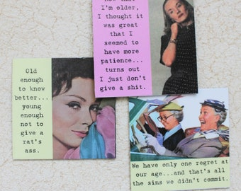 Funny Magnet Set  For Women of a Certain Age Three Sassy Sayings
