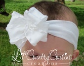 White DOUBLE Layered Ruffled Hair Bow (3 inch) on Stretchy Soft Headband