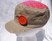 Girls Hounds Tooth Military Cap, Orange and Pink Military Hat, Back to School Hat