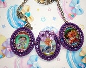 80s girl Garbage Pail Kids necklace Quirky kawaii kitschy toy cartoon statement necklace cosplay