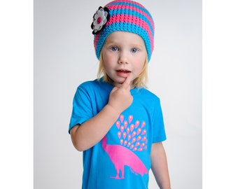Girls clothes, girls gift set, bamboo peacock t-shirt & kids crochet hat, toddler size 2T, kids size 6T