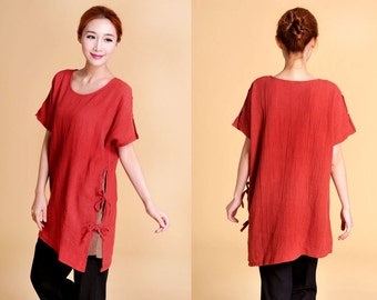Elegant Silk Long Blouse with Asymmetrical Hem Lines / 21 Colors/ RAMIES