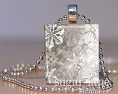 Taupe Gray and White Snowflakes Necklace - (ID5C - Gray, White) - Scrabble Tile Pendant with Chain
