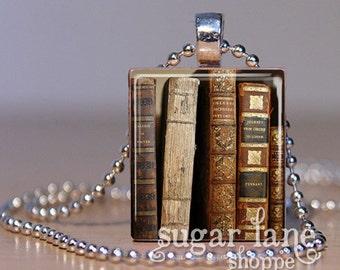 Antique Vintage Books Necklace - (BRB1 - Gold, Burgandy, Black, Rust) - Scrabble Tile Pendant with Chain