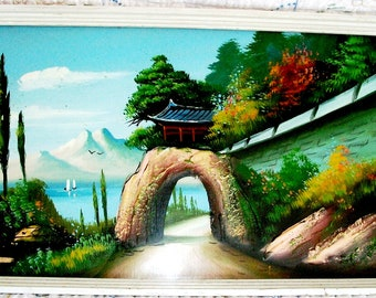 VINTAGE Asian PAINTING, Outdoor Scene- Pagoda, Tunnel, Lake, Wooden Shadow Box Frame, Painted on Wood -SALE! - Raised Areas - Paint or Wax!