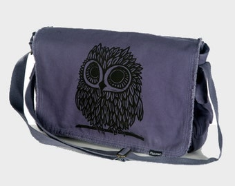 Owl on Denim Blue Messenger Bag