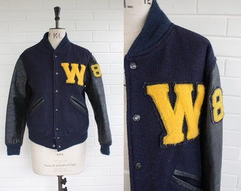 Vintage 1980s Blue Wool and Leather Varsity Jacket Size M