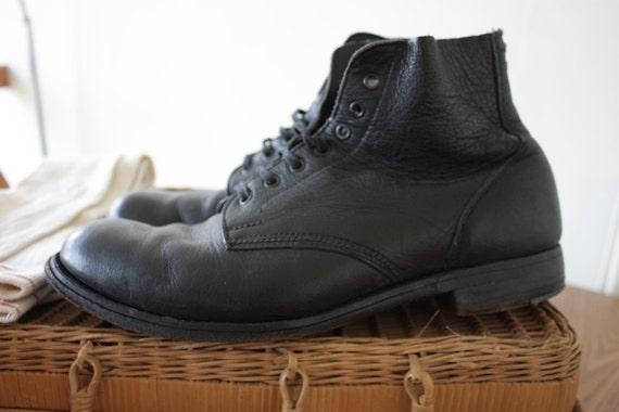 Vintage 1940s Mens Black Hobnail Boots Size Uk 11
