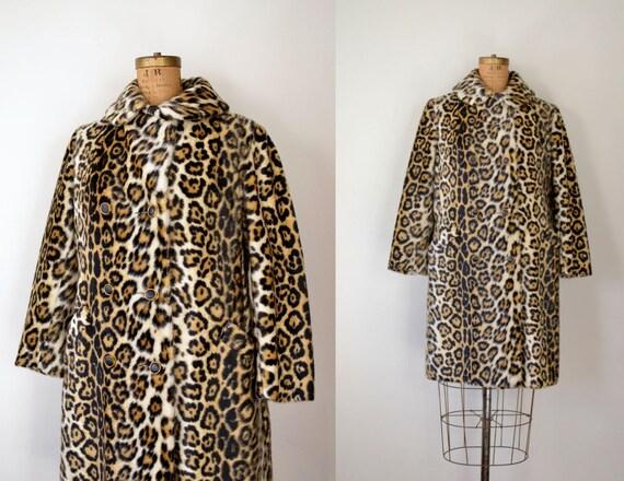 1960s Coat / 60s Leopard Print Coat / Faux Fur