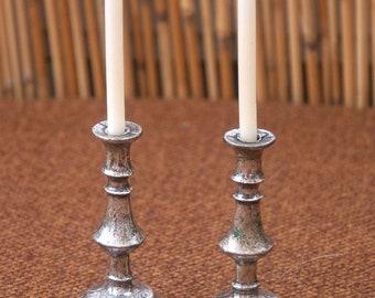 "BillyBoy & Lala MDVANIIISM - 1994, ""Silence"" silver-finished miniature alter candlesticks"