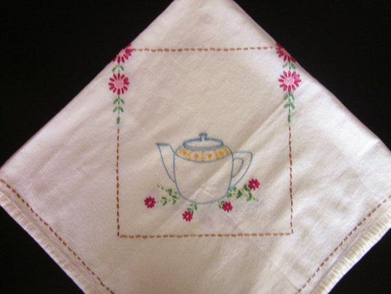 Vintage Tea Tablecloth, Hand Embroidered With Tea Cup and Teapot Design, Mid Century