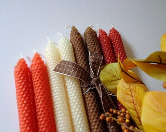 Orange, Rust, Natural and Brown Beeswax Candles