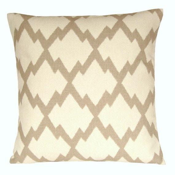 Trellis Pillow Cover 16x16 Ikat Cushion Cover 16 Inch Ikat Pillow Sham - Ikat Trellis Oatmeal