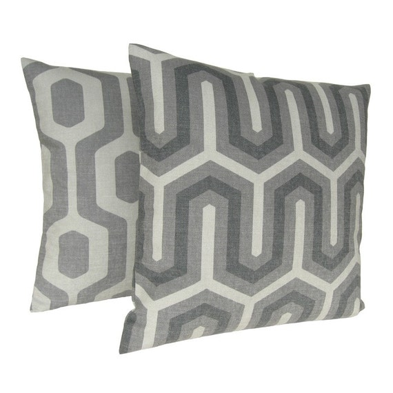 Geometric Pillow Cover 18 Inch Cushion Cover Pillow Sham - Maze Dove Grey