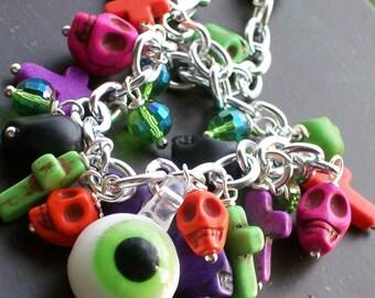 Halloween Sugar Skull Charm Bracelet, Day of the Dead Charm Bracelet