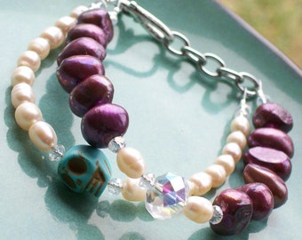 Sugar skull and Pearl Bracelet Double strand