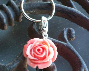 Day of the Dead Orange And White Rose Pendant Keychain