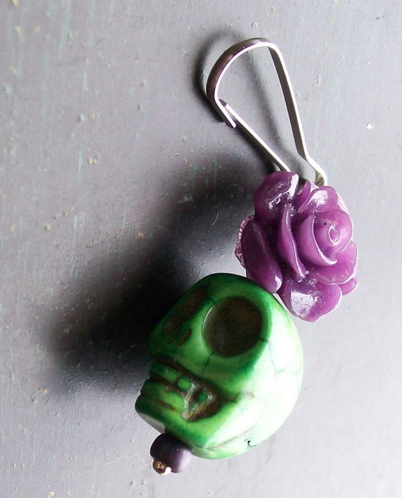 Zombie Green Sugar Skull and Purple Rose Zipper Pull Charm